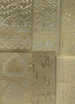 6 gold sheets lot mixed sheets of peel off stickers  ideal cards, papercraft, image 1