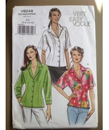 Vogue V8248 Very Easy Misses Petite Collar Button Front Shirt Size AA 6... - $18.95
