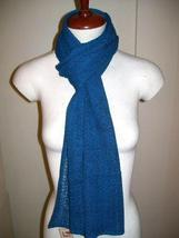 Blue crocheted scarf,shawl made of Babyalpaca wool - $87.00