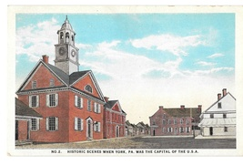 York PA Historic Scene No. 2 Colonial Court House Capitol of US Vintage ... - $4.99
