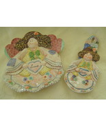 Country Angels, Porcelain, Plate/Spoon Rest Set, Patchwork Country Style... - $20.00