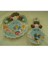 Country Angels, Porcelain, Plate & Spoon Rest Set, Patchwork, Baking Coo... - $20.00