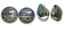 Swirl Enamel Earrings 2 Sets Blue & Green Stainless Steel Vintage 1980s ... - $12.22
