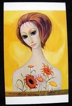 "BIG EYE Margaret KEANE POSTCARD MDH 1964 ""Growing Up"" Girl with Flowers ... - $11.88"