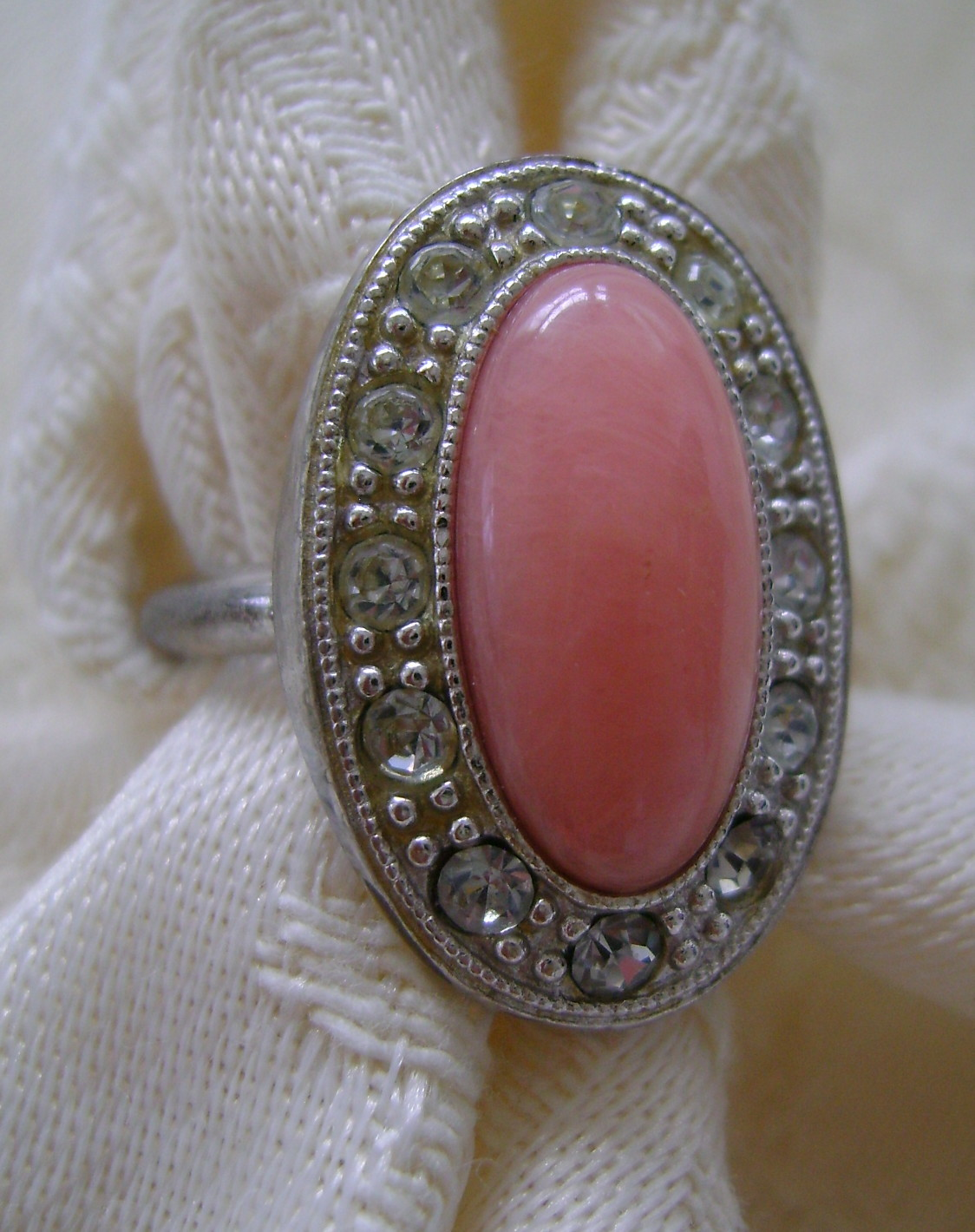 "Ring, Avon ""Pale Fire,"" Adjustable Size 6-7, Coral Color with Rhinestones"