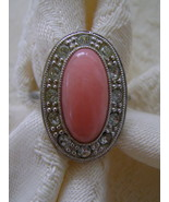 "Ring, Avon ""Pale Fire,"" Adjustable Size 6-7, Coral Color with Rhinestones  - $15.00"