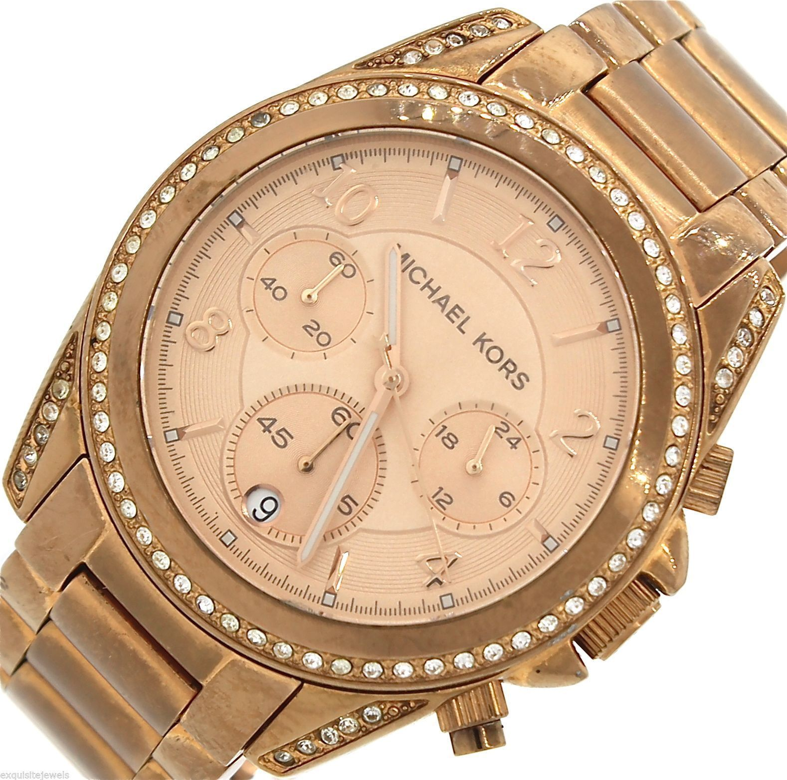 828e91f5f012 57. 57. Previous. Ladies Michael Kors Blair Pink Rose Gold-Tone Chronograph  Quartz Watch MK5263