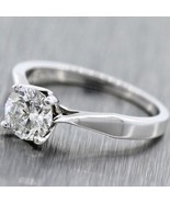 1.00ctw Near Colorlress Round Brilliant Cut 18k White Gold Engagement Ring - £3,133.50 GBP