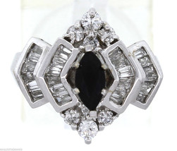14K White Gold .5ct Black Onyx Baguette Round .9ct Diamond Ring - $894.95