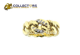 Women's Authentic David Yurman 18K Yellow Gold Diamond Chain Ring Size 4.25 - $965.00