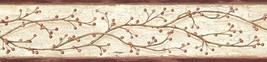 Winterberry Branch Wallpaper Border Grey Chesapeak Wallcovering PUR44611B - $20.99