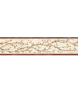 Winterberry Branch Wallpaper Border Grey Chesapeak Wallcovering PUR44611B - $20.99