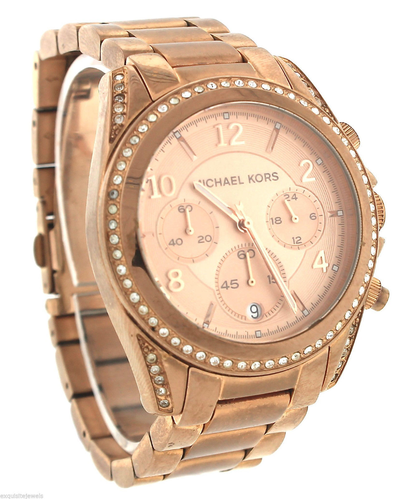 aed4c8a86b1b Ladies Michael Kors Blair Pink Rose Gold-Tone Chronograph Quartz Watch  MK5263