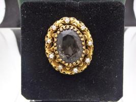 **ANTIQUE Antique 14K SOLID GOLD Smoked Quartz w/pearls Filigree brooch ... - $450.00