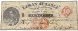 1862 Lyman Ayrault Ten Cent 10c Fractional Bill Obsolete Banknote PCGS F... - $99.95