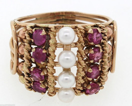14K Yellow Rose Gold Pink Sapphire Pearl Ring - $494.95
