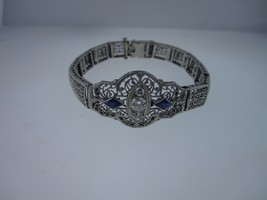 "Antique Art Deco 14K White Gold Filigree Link Bracelet .75ct / 6.5""/ 14 ... - $1,099.95"