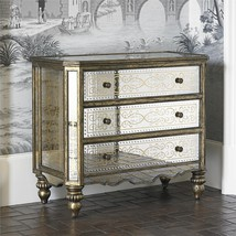 Mirrored Accent Eglomise Golden Chest,3 Drawers - $2,500.00