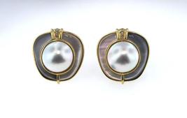 Kai Yin Lo ( KY LO ) 18k Gold Pearl Onyx French Back Earrings w/ Diamonds 27.7gr - $1,950.00