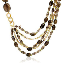 "Genuine Belleza Multi-Layer 24"" Necklace with Smoky Quartz Gemstones - $55.00"