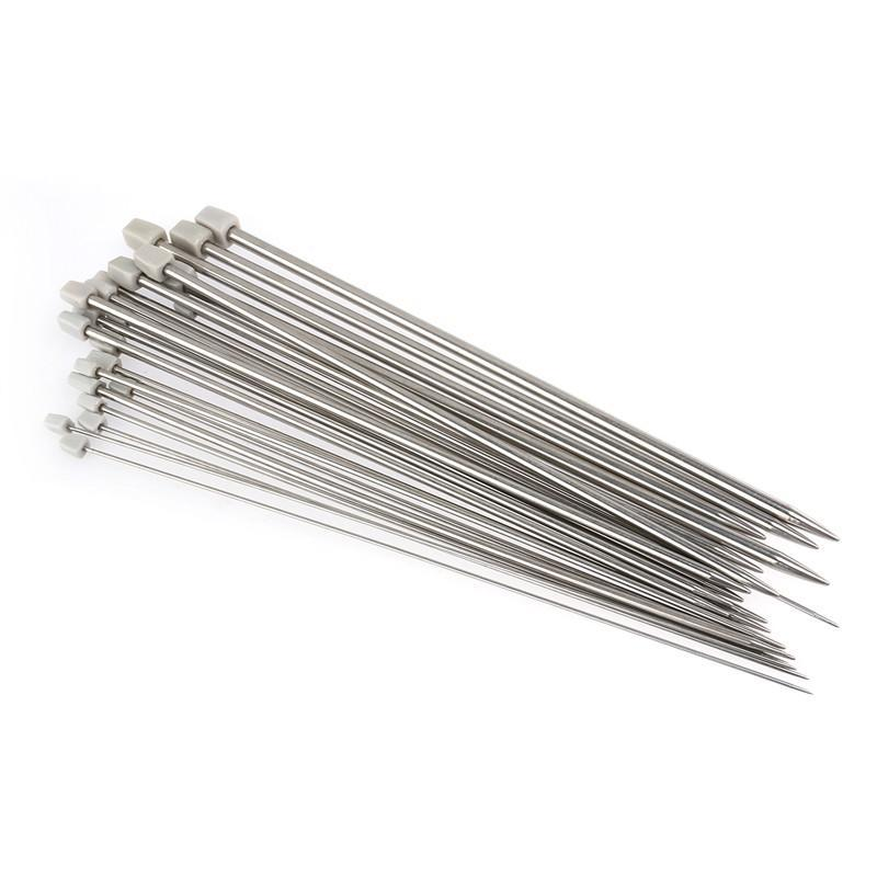 PIXNOR 11 Pairs of 36cm Long 2.0 mm to 8.0 mm Stainless Steel Knitting Needles
