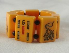 Vintage Bakelite Blue Dragon Mahjong Tile Bracelet - $30.00