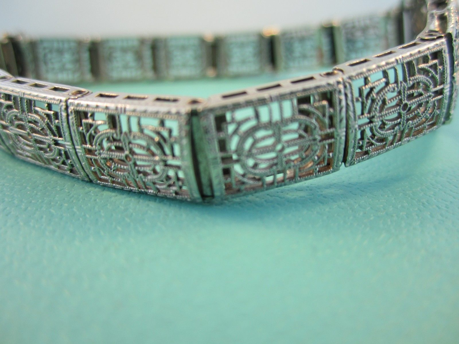 "Antique Art Deco 14K White Gold Filigree Link Bracelet .75ct / 6.5""/ 14 Grams"