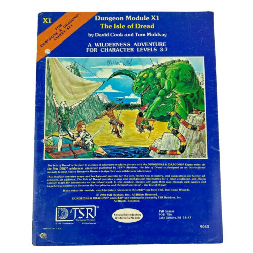 Dungeons & Dragons Dungeon Module X1 The Isle of Dread TSR Expert Set 9043 1981 - $34.99