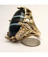 Handmade 14kt Gold Black/White Sardonyx Massive... - $2,797.56