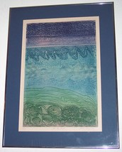 "Signed & Numbered 84/150 ""At The Shore"" By Laura Margolius Woodblock Pri... - $670.00"