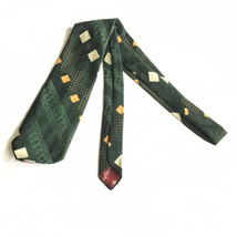 VINTAGE MENS TIE NECKTIE FORMAL CASUAL BURMA OLEG CASSINI KG GREEN GOLD ... - $12.82