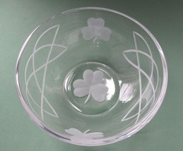 Hand cut glass bowl, Celtic  shamrock St Patricks day gift Can be customized - $17.60