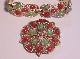 "Sarah Coventry ""Acapulco"" Faux Jade Carnelian Cabochon Brooch & Bracelet Vintage - $59.95"