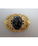 Antique VTG Cameo Brooch Black Glass Large Orna... - $59.39