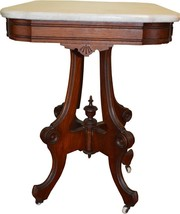 18246 Victorian Marble Top Walnut Parlor Stand - $345.00