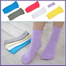 Womens Sporty Stretch Five Finger Toe Socks For Breathable Cotton Comfort