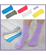 Womens Sporty Stretch Five Finger Toe Socks For Breathable Cotton Comfort - $10.95