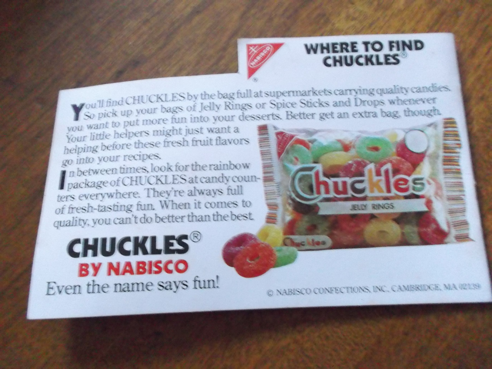 """Chuckles Desserts """"Chuckles Fun Desserts Cook Book"""" from Nabisco Confections"""
