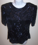 Stenay women's blouse small black vintage Evening sequin beaded short sl... - $17.99
