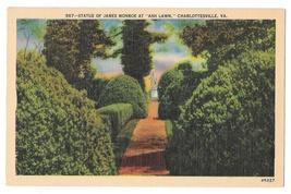 VA Charlottesville Ash Lawn James Monroe Statue Vtg Linen Postcard - $4.99
