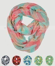 Wide Chevron Print Spring Infinity Scarf Block Circle Loop Wrap 3 Color Soft - $7.35