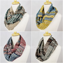Pashmina Knit Infinity Winter Scarf Elastic Warm Geometric Pattern Circle Loop - $11.95
