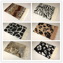 Cashmere Silk Animal Print Design Super Soft Fashion Scarf Wool Leopard ... - $11.26 CAD