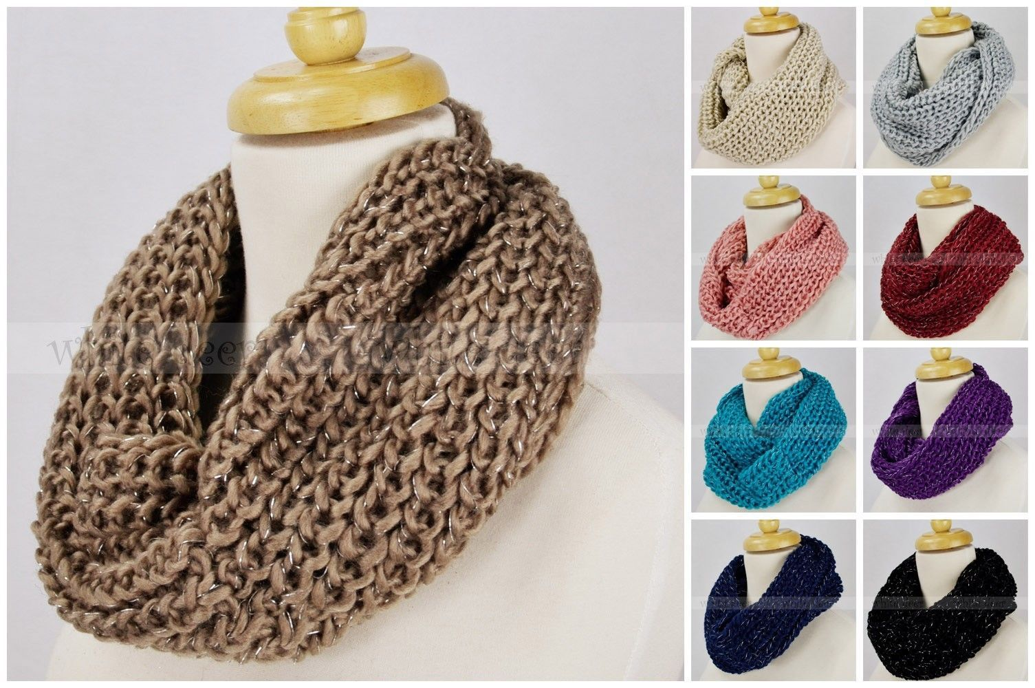 Primary image for Solid Color Knit Infinity Winter Scarf Elastic Warm Silver Threads Circle Loop