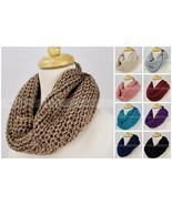 Solid Color Knit Infinity Winter Scarf Elastic Warm Silver Threads Circl... - €7,56 EUR