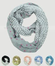 Polka Dot Print Cut Block Circle Loop Wrap Infinity Scarf Multi Color Soft - $6.45