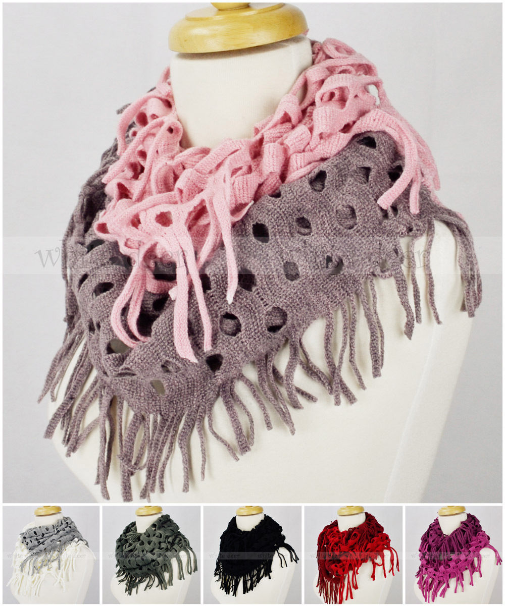Primary image for Two Tone Color Knit Infinity Winter Scarf Elastic Warm Hollow Out Circle Loop