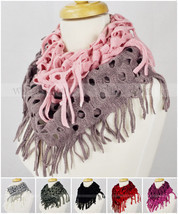 Two Tone Color Knit Infinity Winter Scarf Elastic Warm Hollow Out Circle Loop - $8.45