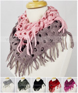 Two Tone Color Knit Infinity Winter Scarf Elastic Warm Hollow Out Circle... - $11.02 CAD