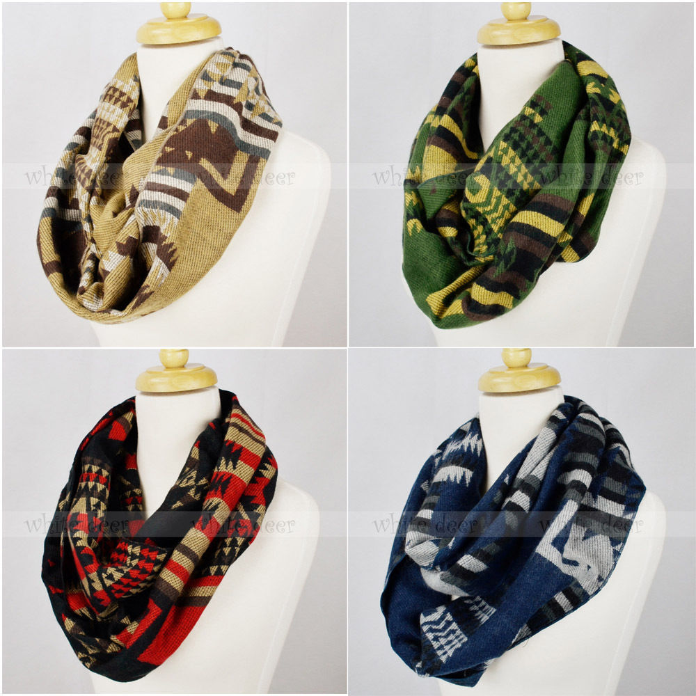 Primary image for Pashmina Knit Infinity Winter Scarf Elastic Warm Geometric Diamond Circle Loop